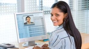 Young Businesswoman on Teleconference Video Call